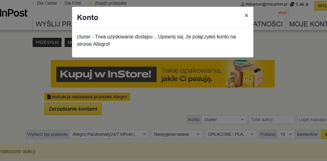 Rozwiazano Problem Z Importem Zamowien Na Strone Inpost Spolecznosc Allegro 16035
