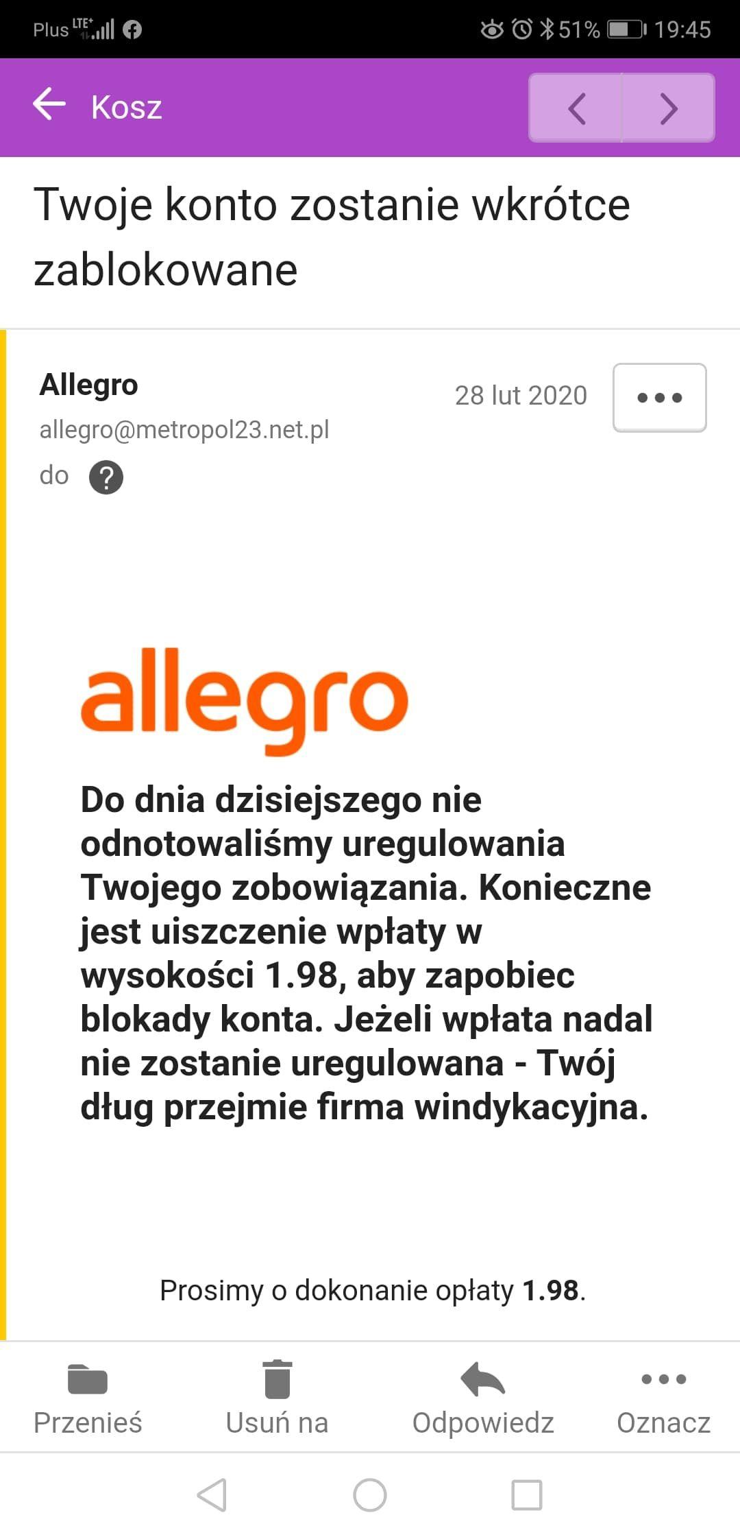 Rozwiazano Twoje Konto Zostanie Wkrotce Zablokowane Spolecznosc Allegro 6019