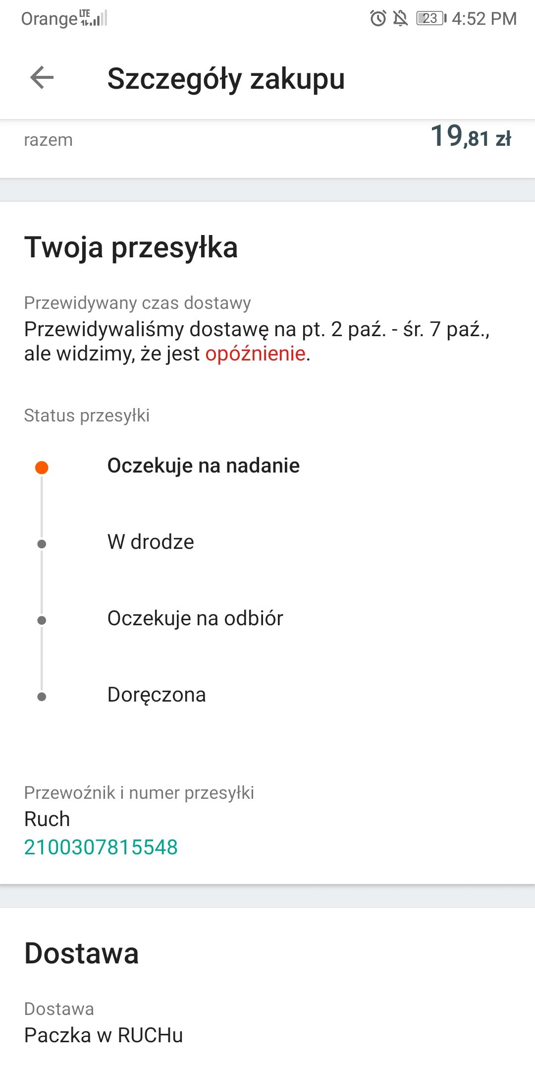 Nieodebrana Paczka W Ruchu Bledny Status Allegro Spolecznosc Allegro 101601