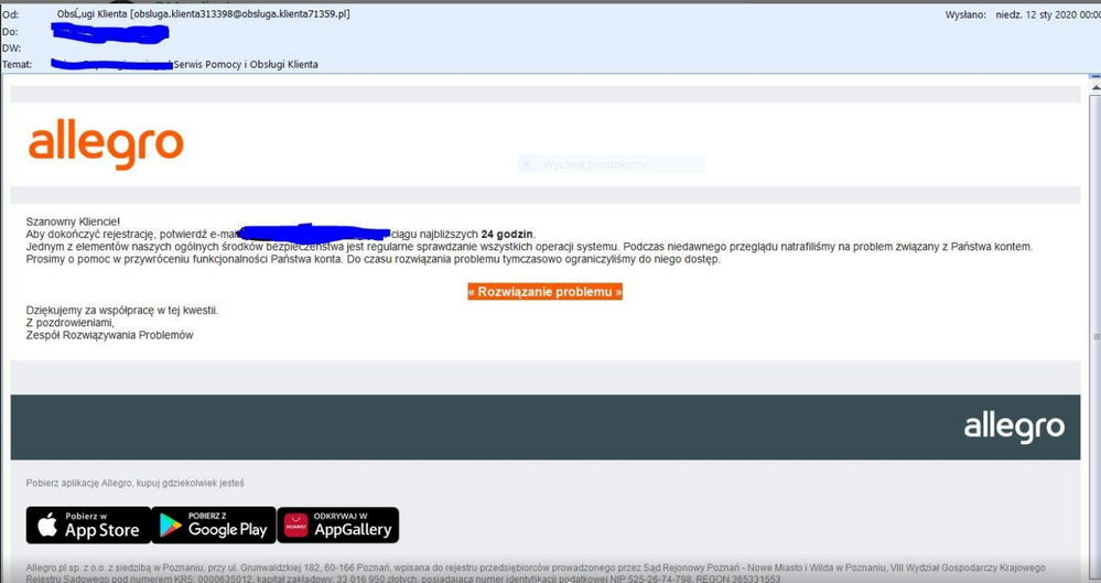 Rozwiazano Podejrzany Email Phishing Spolecznosc Allegro 45488