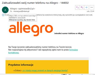 Falszywe Maile O Zmianie Numeru Telefonicznego W Allegro Spolecznosc Allegro 150598