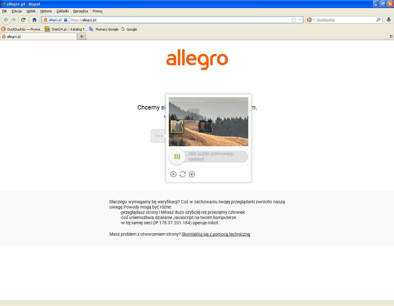 Jak Wyeliminowac Captcha Podczas Proby Wejscia Na Strone Allegro Nawet Bez Logowania Spolecznosc Allegro 177085